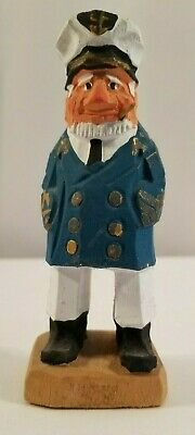 VINTAGE MINIATURE SEA CAPTAIN Hand Carved & Painted NAUTICAL WOODEN COLLECTIBLE