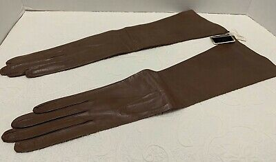 Vtg NWT FRENCH OPERA GLOVES Roger Fare Saks 5th Ave Brown Kid Leather Sz 7 NOS