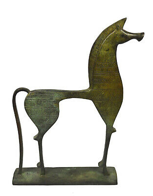 Bronze Horse sculpture statue with geometric pattern - Ancient Greece