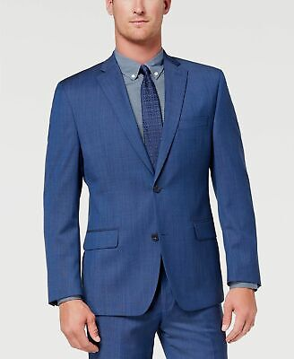 $550 Michael Kors 46R Men's Blue Classic Fit Wool Sport Solid Blazer Suit Jacket