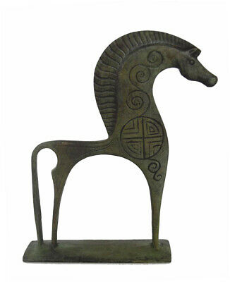 Elegant bronze Horse sculpture statue with carvings - Ancient Greece