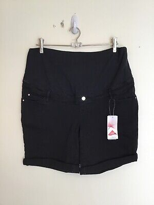 TARGET COLLECTION NWT Size 14 Black Stretch Denim Over Bump Maternity Shorts