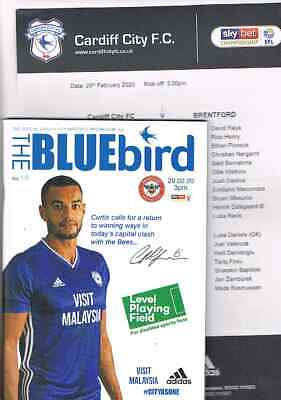 Cardiff City v Nottingham Forest 2019/20 + Official Colour Teamsheet