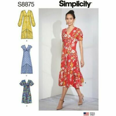 Simplicity Sewing Pattern 8875 Misses 14-22 Dresses Empire Waist 4 Styles
