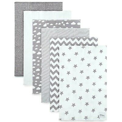 Burp Cloths 6 Pack Large 100% Cotton Washcloths Double Layered (Grey Pattern)