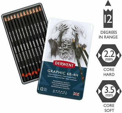 Derwent ~ GRAPHIC PENCILS ~ 6B - 4H Tin Box, Set of 12 Graphite