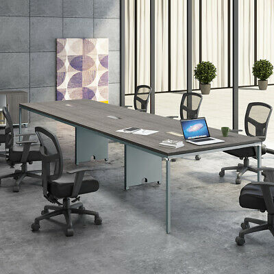8FT - 12FT MODERN CONFERENCE TABLE AND CHAIRS SET with Mesh Chairs & Metal Base