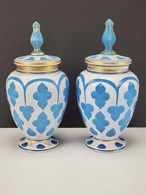 (2) Antique Boston Sandwich Glass White To Blue Cut Overlay Covered Urns