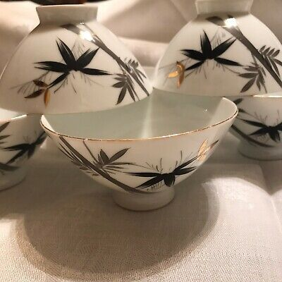 Mid Century Vintage Japanese Porcelain Rice Bowls Set Ot 6 Bamboo Made In Japan