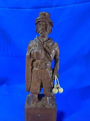 "Wood Carved Old Man-  Figure Richly Detailed - Argentina 1995-8"" Tall"