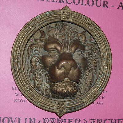 Large VTG- Antique BRASS LION HEAD Door Knocker Ornate Architectural Decora Arts