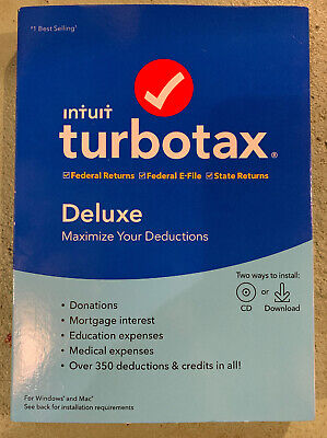 Intuit TurboTax Deluxe 2019 Federal CD and Download NEW Sealed State Returns