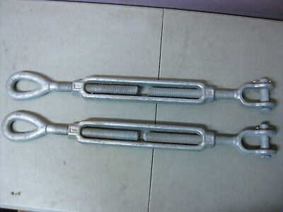 """(Lot of 2) Crosby 1"""" x 12"""" HG-227 Jaw and Eye Turnbuckle Take-Up WLL 5 Tons"""