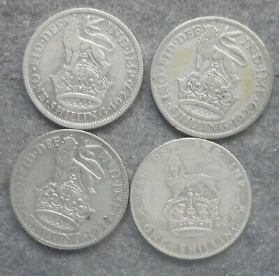 Great Britain 1926 1927 1928 1929   Shilling  Silver Coin  Nice