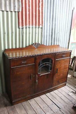 A Gorgeous Tiger Oak Art Deco Sideboard Buffet with Leadlight