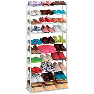 New 10 Tier White Shoe Rack Storage Organiser Stand Shelf Pairs Shoe Trainers