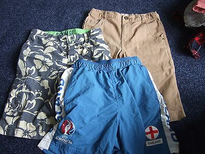 3 pairs of boys casual summer shorts aged 7 - 8