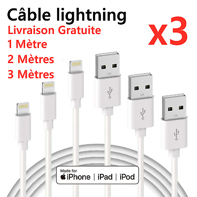 CHARGEUR POUR APPLE CABLE 1M 2M 3M USB IPHONE SE/5S/6/6S/7/8/X/XR/11/Pro