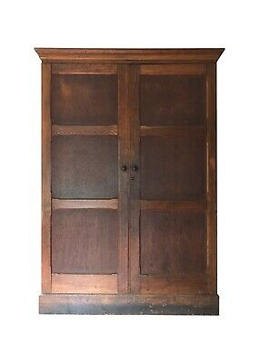 Antique Oak School Cupboard Housekeeper's Hall Larder Linen Cupboard