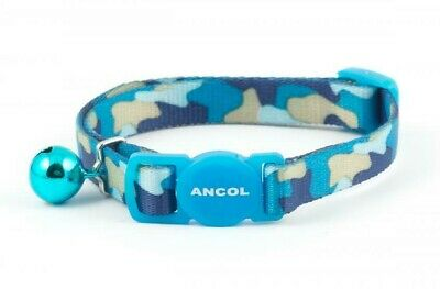 Ancol CAMOUFLAGE Cat Collar Quick Release Safety Buckle With Bell 20-30cm Blue