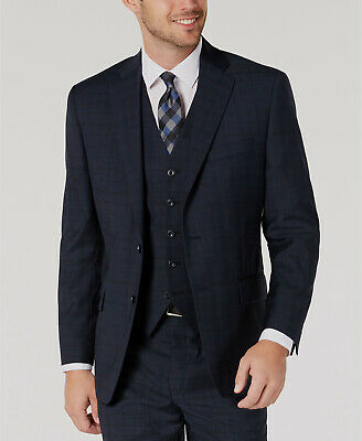$495 Michael Kors 36S Men's Classic Fit Blue Wool Blazer Plaid Suit Coat Jacket