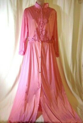 Vintage Lily of France Rosa Puleo-Szule  Bright Pink Night Gown Robe  Med NWT