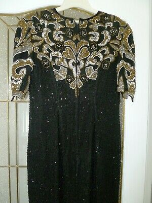 NIGHT VOGUE Silk Sequined Beaded Black & Gold Formal Evening Dress size XXL