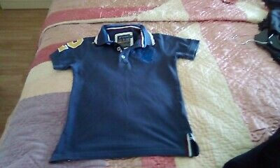 Boys T Shirt Santa Monica Kids Jersey Top Collared Diamond Quilted Patches New