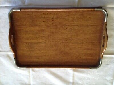 Art Deco Oak Butler's Tray with chrome corners