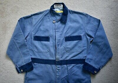 Vtg Anchor Textiles Two Tone Blue Denim Work Coveralls Union Made Canada Large