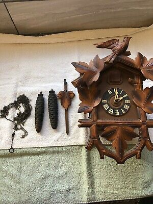 Vintage Cuckoo Clock - HUBERTHERR TRIBFRG - For Repair Or Parts, Made In Germany