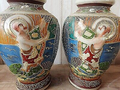 Antique Japanese SATSUMA MEIJI Pair of Vases Mirror Image Porcelain 19 c