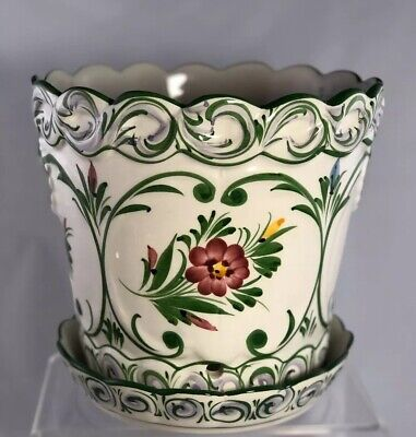 Hand Painted Ceramic Flower Pot Made in Portugal RCCL Pottery Art W Under Plate