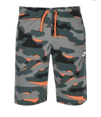 Nike Standard Club Camouflage Shorts Green  Knee Lenght Size Small