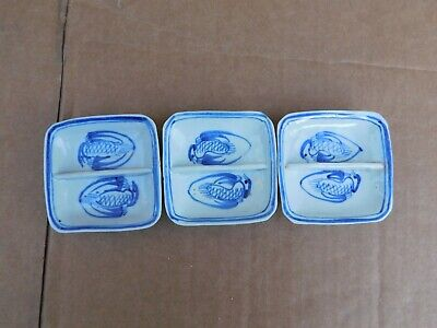Three Small Antique Chinese Blue/White Porcelain Plates Marked