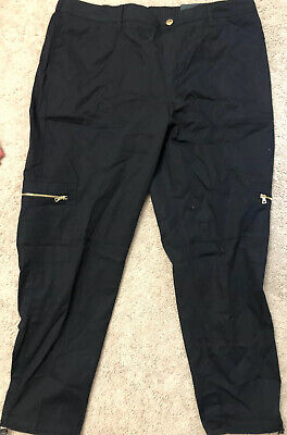 NWT Rafaella Womens Sz 16 Comfort Waist Pull-On Ripstop Cargo Ankle Pants Black
