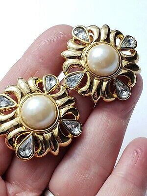 "Estate Vintage Gold Tone Faux pearls Rhinestones Shoe Clips 1.25"" t"