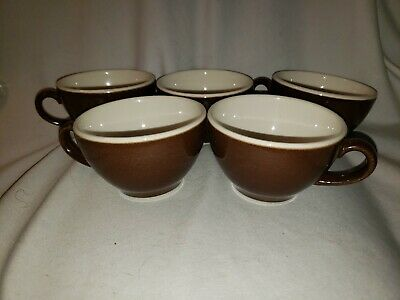 Log of 5 VINTAGE SYRACUSE CHINA DARK BROWN MOCCA COFFEE CUPS ART DECO USA