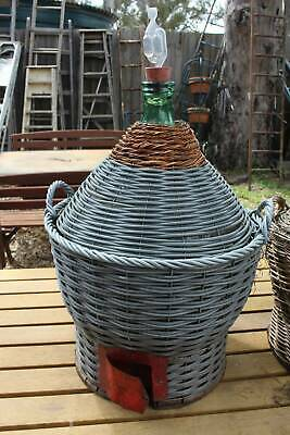 A Large Vintage Italian Wine Glass & Cane Demijohn  - 1st of Two - 90cm High