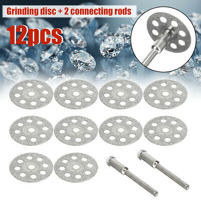10pcs Mini Diamond Cutting Discs Wheel Blades Set With Drill Bit Rotary Tool UK