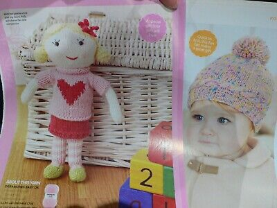 Doll Toy and Baby Pompom Hat Knitting Pattern