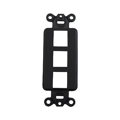 Hubbell Isf3Bk Istation Decorator Frame Wall Plate Insert, 3 Port, Black