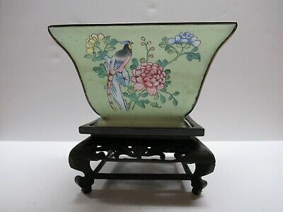 Antique Chinese Enameled Square Bowl On Carved Wood Stand
