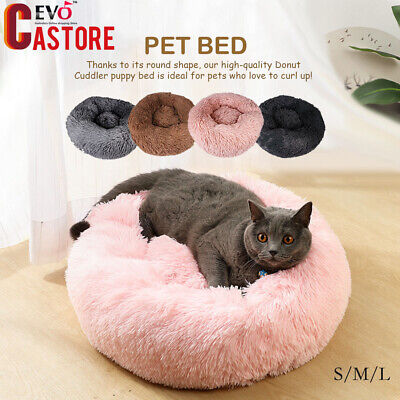 Pet Dog Cat Calming Bed Warm Soft Plush Round Nest Comfortable Sleeping Bag