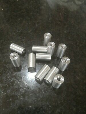 2 off M10 x 1.5mm pitch threaded spacers 50mm long by 38.1mm O.D. Aluminum