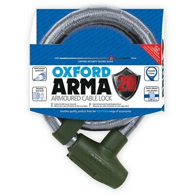 Oxford Arma20 Armoured Cable Lock 22mm x 0.9m LK283 Clear
