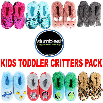 Splosh SLUMBIES Furry Critters Flip Sequin Kids Slippers Socks Bunny Leopard Dog
