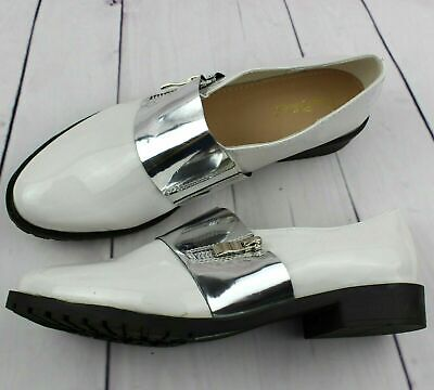 Womens Ladies White Loafers Brogue Slip On Flats Work Office School Shoes Size