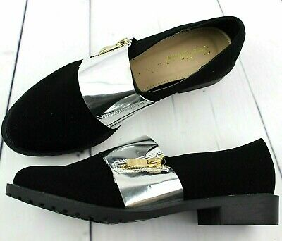 Womens Ladies Black Loafers Brogue Slip On Flats Work Office School Shoes Size 4