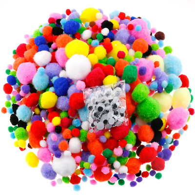 Caydo 1400 Pieces 5 Sizes Multicolor Pom Poms Assorted Pompoms with 4 Sizes Eyes